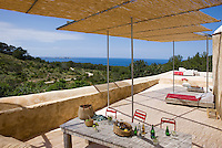There are stunning views of the sea from the covered terrace of the house