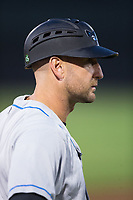 Hudson Valley Renegades manager Craig Albernaz (1) coaches third base during the game against the Aberdeen IronBirds at Leidos Field at Ripken Stadium on July 27, 2017 in Aberdeen, Maryland.  The IronBirds defeated the Renegades 3-0 in game two of a double-header.  (Brian Westerholt/Four Seam Images)