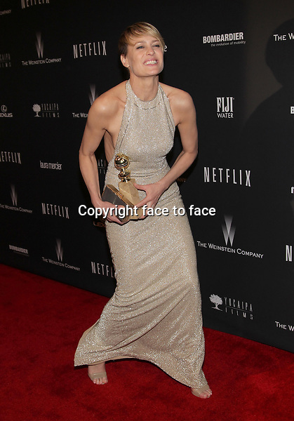 Beverly Hills, California - January 12: Robin Wright at The Weinstein Company &amp; Netflix 2014 Golden Globes After Party on January 12, 2014 at The Beverly Hilton Hotel, California. <br />