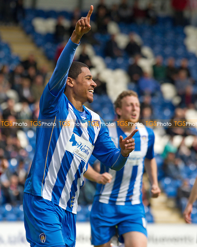 Alex Wynter of Colchester United celebrates his goal that put his side 2-0 up in their vital survival fight against already promoted Brentford - Colchester United v Brentford - Sky Bet Championship League Football Division 1 at the Weston Homes Community Stadium, Colchester, Essex  - 26/04/14 - MANDATORY CREDIT: Ray Lawrence/TGSPHOTO - Self billing applies where appropriate - 0845 094 6026 - contact@tgsphoto.co.uk - NO UNPAID USE
