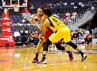 Washington, DC - June 15, 2018: Washington Mystics forward Monique Currie (25) guarded by Los Angeles Sparks guard Alana Beard (0) during game between the Washington Mystics and Los Angeles Sparks at the Capital One Arena in Washington, DC. (Photo by Phil Peters/Media Images International)