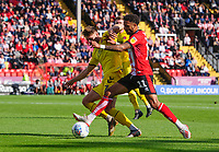 Lincoln City's Bruno Andrade vies for possession with Fleetwood Town's Wes Burns<br /> <br /> Photographer Chris Vaughan/CameraSport<br /> <br /> The EFL Sky Bet League One - Lincoln City v Fleetwood Town - Saturday 31st August 2019 - Sincil Bank - Lincoln<br /> <br /> World Copyright © 2019 CameraSport. All rights reserved. 43 Linden Ave. Countesthorpe. Leicester. England. LE8 5PG - Tel: +44 (0) 116 277 4147 - admin@camerasport.com - www.camerasport.com