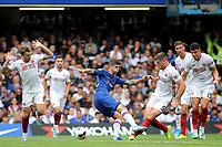 Chelsea's Christian Pulisic is surrounded by Sheffield United players and loses possession to Jack O'Connell during Chelsea vs Sheffield United, Premier League Football at Stamford Bridge on 31st August 2019
