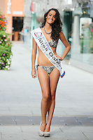 17/9/2010. Miss Ireland contestants. Miss Galway Caoimhe Mc Clafferty is pictured at St Stephens Green. the 35 Miss Ireland contestants officially unveiled in their swimwear and sashes for the 1st time at Stephen's Green Shopping Centre,  Dublin. Picture James Horan/Collins Photos