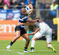 Jonathan Joseph of Bath Rugby in possession. Aviva Premiership match, between Bath Rugby and Saracens on September 9, 2017 at the Recreation Ground in Bath, England. Photo by: Patrick Khachfe / Onside Images