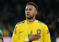 Neymar Jr of Brazil proudly respects his Country's national anthem ahead of kick-off during Brazil vs Uruguay, International Friendly Match Football at the Emirates Stadium on 16th November 2018