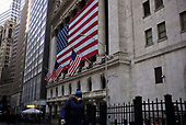 New York, New York<br /> March 18, 2020<br /> 8:41 AM<br /> <br /> Manhattan under coronavirus pandemic. <br /> <br /> The New York Stock Exchange and Wall Street void of people as the market falls over 10,000 points following weeks of the economic fear as a result of the virus.