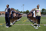 CHAPEL HILL, NC - MAY 20: Navy players stand at attention during the playing of the national anthem. The University of North Carolina Tar Heels hosted the U.S. Naval Academy Midshipmen on May 20, 2017, at Fetzer Field in Chapel Hill, NC in an NCAA Women's Lacrosse Tournament Quarterfinal match. Navy won the game 16-14.
