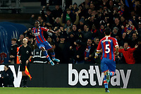 23rd November 2019; Selhurst Park, London, England; English Premier League Football, Crystal Palace versus Liverpool; Wilfried Zaha of Crystal Palace celebrates his goal for 1-1 in the 82nd minute - Strictly Editorial Use Only. No use with unauthorized audio, video, data, fixture lists, club/league logos or 'live' services. Online in-match use limited to 120 images, no video emulation. No use in betting, games or single club/league/player publications