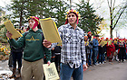 "Nov. 2, 2012; Students read from The Divine Comedy, concluding the ""Donte Now"" event at the Grotto. Italian Studies at Notre Dame and the College of Arts and Letters' and the William and Katherine Devers Program in Dante Studies hosted ""Dante Now"" at various locations around campus. Photo by Barbara Johnston/University of Notre Dame"