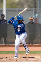 Kansas City Royals third baseman Dennicher Carrasco (51) during a Minor League Spring Training game against the Milwaukee Brewers at Maryvale Baseball Park on March 25, 2018 in Phoenix, Arizona. (Zachary Lucy/Four Seam Images)