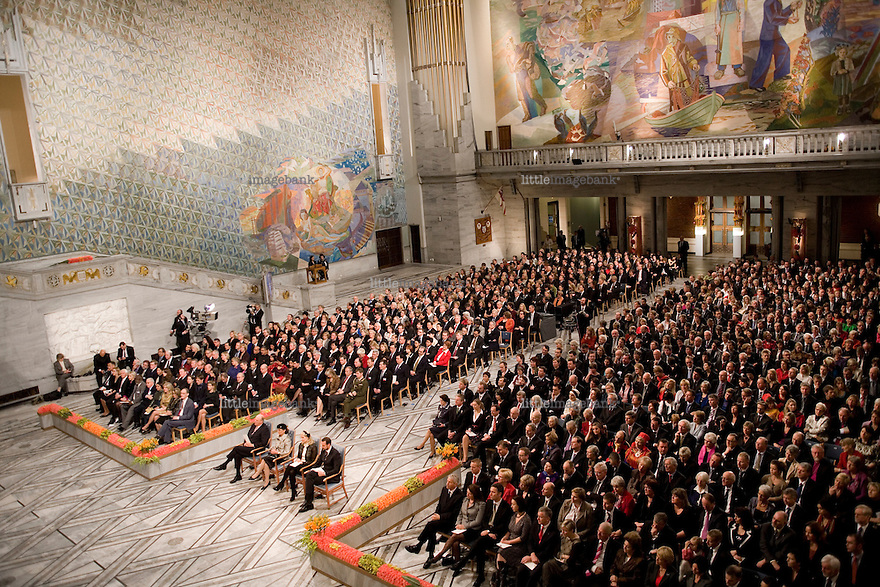 A view of the Oslo city hall during the Nobel Peace price cerimony 2007. Photo: Christopher Olssøn.