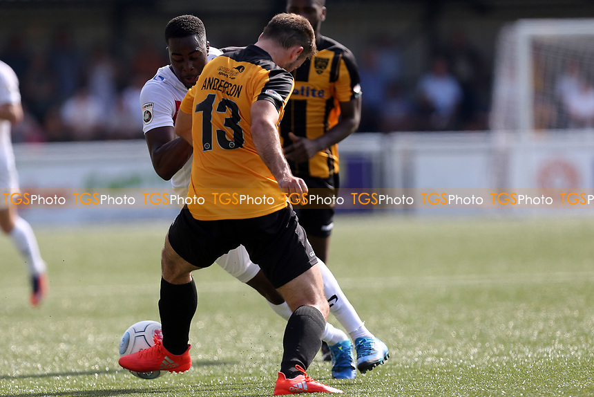 Joe Anderson of Maidstone and Fejiri Okenabirhie of Dagenham during Maidstone United  vs Dagenham & Redbridge, Vanarama National League Football at the Gallagher Stadium on 28th August 2017