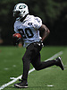 Isaiah Crowell #20 of the New York Jets works on kickoff returns during team practice at the Atlantic Health Jets Training Center in Florham Park, NJ on Saturday, July 28, 2018.