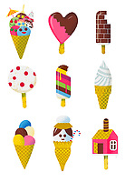 Rows of different ice lollies and ice cream cones