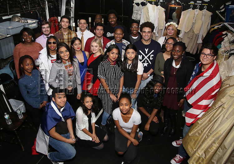 Andrew Chappelle with student performers attend The Rockefeller Foundation and The Gilder Lehrman Institute of American History sponsored High School student matinee performance of  'Hamilton' at the Richard Rodgers Theatre on 2/8/2017 in New York City.