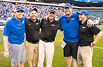 May 26, 2019: The Cabrini Cavaliers defeated the Mammoths of Amherst 16-12 to win the NCAA division three lacrosse championship at Lincoln Financial Field as coach Steve Colfer and his staff enjoy the moment in Philadelphia Pennsylvania, on May 26, 2019. Dan Heary,Eclipse Sportswire/CSM