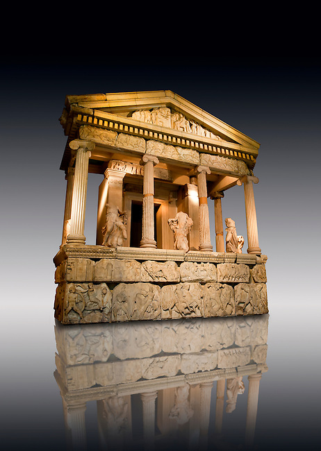 The sculptured  4th cent. B.C Lycian Nereid ( Mythical Greek Sea Nymphs) Monument tomb of Arbina, a Xanthian client ruler of the Persians conquerors of Lycia. From Xanthos UNESCO World Heritage site, south west Turkey. British Museum exhibit excavated by Charles Fellows in 1840s.