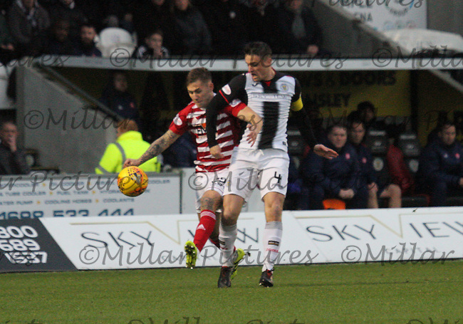 Sam Kelly getting the better of Stephen McGinn in the St Mirren v Hamilton Academical Scottish Professional Football League Ladbrokes Premiership match played at the Simple Digital Arena, Paisley on 1.12.18.