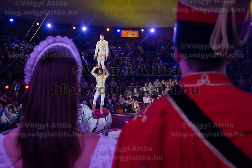 Members of the Troupe Richter of Hungary trained by Jozsef Richter Jr. perform their Golden Pierrot Award winning acrobatic horse act during the 10th International Circus Festival in Budapest, Hungary on January 13, 2014. ATTILA VOLGYI