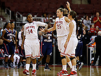 Ohio State Buckeyes guard Ameryst Alston (14), Ohio State Buckeyes guard Amy Scullion (25) and Ohio State Buckeyes guard Cait Craft (13) high five after the college basketball game between the Ohio State Buckeyes and the Florida Atlantic Owls at Value City Arena in Columbus,  Sunday afternoon, November 10, 2013. The Ohio State Buckeyes narrowly defeated the Florida Atlantic Owls 91 - 88. (The Columbus Dispatch / Eamon Queeney)