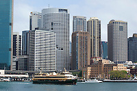 "14 SEP 2009 - SYDNEY, AUS - The ferry ""Queenscliff"" leaves its berth at Circular Quay (PHOTO (C) NIGEL FARROW)"