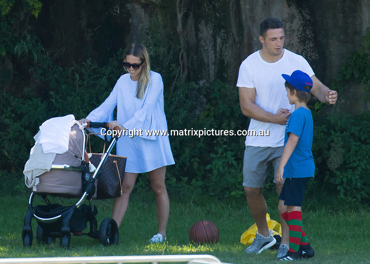 26 MARCH 2017 SYDNEY AUSTRALIA<br /> WWW.MATRIXPICTURES.COM.AU<br /> <br /> EXCLUSIVE PICTURES<br /> <br /> Russell Crowe pictured with Sam Burgess and his wife Phoebe Burgess out and about in Wooloomoolloo with their baby girl Poppy Alice. Russell's youngest son Tennyson was also along fro some basketball and football sports with his dad. <br /> <br /> Note: All editorial images subject to the following: For editorial use only. Additional clearance required for commercial, wireless, internet or promotional use.Images may not be altered or modified. Matrix Media Group makes no representations or warranties regarding names, trademarks or logos appearing in the images.