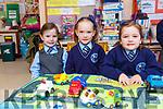 Mia O'Doherty, Zoey Nagle and Ava O'Sullivan plaing in Kilcummin NS on Monday