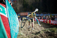 Nikki Harris (GBR/Telenet-Fidea) climbing &quot;Le Mur&quot; de Francorchamps (50% gradient!)<br /> <br /> Superprestige Francorchamps 2014