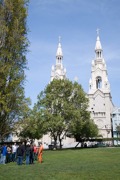 St. Peter and Paul's Church is located in San Francisco's North Beach neighborhood directly adjacent to Washington Square Park.