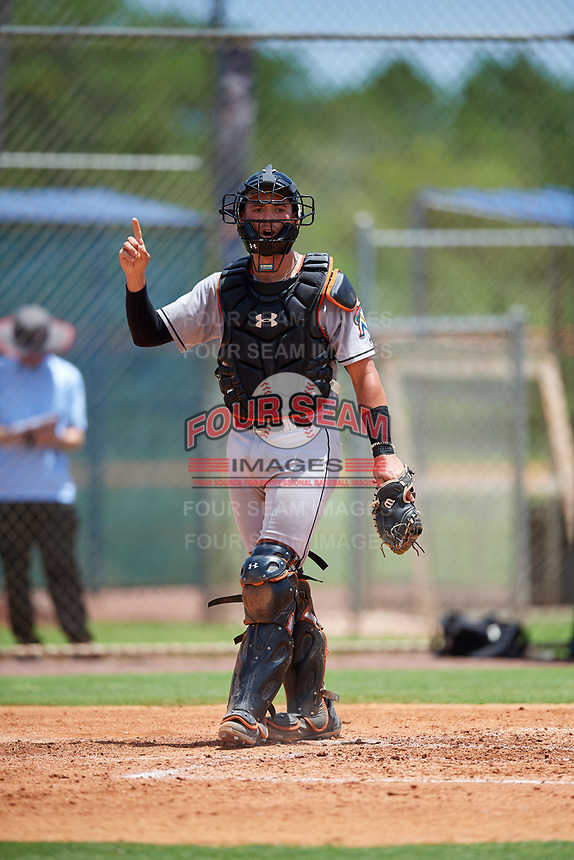 GCL Marlins catcher Will Banfield (10) signals to the defense during a game against the GCL Mets on August 3, 2018 at St. Lucie Sports Complex in Port St. Lucie, Florida.  GCL Mets defeated GCL Marlins 3-2.  (Mike Janes/Four Seam Images)