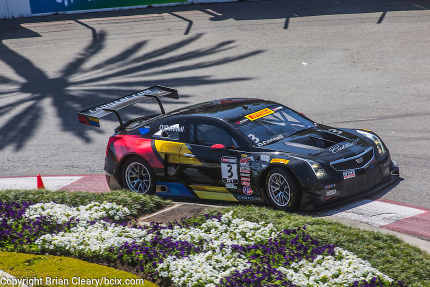 Johnny O'Connell, #3 Cadillac ATS-VR GT3, Pirelli World challenge race, Long Beach Grand Prix, Long Beach, CA, April 2015.  (Photo by Brian Cleary/ www.bcpix.com )