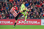 Football match during La Liga with the teams ath. club and fc barcelona in san mames stadium, bilbao<br /> oskar de marcos fight the ball with neymar<br /> PHOTOCALL3000