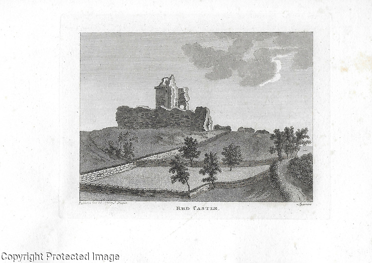 Engravings of Scottish landscapes and buildings from late eighteenth century, Red Castle, Scotland, UK