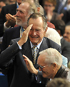 St. Paul, MN - September 2, 2008 -- Former United States President George H.W. Bush salutes former prisoners of war at the 2008 Republican National Convention in St. Paul, Minnesota on Tuesday, September 2, 2008..Credit: Ron Sachs / CNP.(RESTRICTION: NO New York or New Jersey Newspapers or newspapers within a 75 mile radius of New York City)