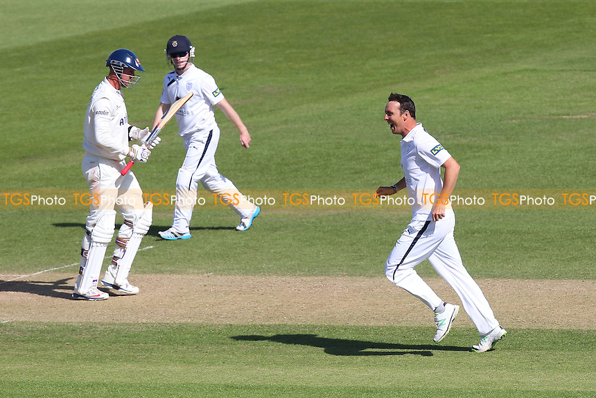 Delight for Kyle Abbott (R) of Hampshire as he claims the wicket of David Masters (L) - Hampshire CCC vs Essex CCC - LV County Championship Division Two Cricket at the Ageas Bowl, West End, Southampton - 17/06/14 - MANDATORY CREDIT: Gavin Ellis/TGSPHOTO - Self billing applies where appropriate - 0845 094 6026 - contact@tgsphoto.co.uk - NO UNPAID USE