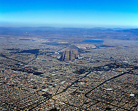 aerial photograph of Mexico City from the south toward Aeropuerto Internacional Benito Juárez, the Mexico City International Airport (MEX, MMMX), Mexico.
