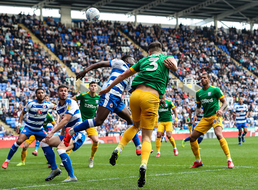 Preston North End's Josh Earl heads under pressure from Reading's Liam Moore <br /> <br /> Photographer Andrew Kearns/CameraSport<br /> <br /> The EFL Sky Bet Championship - Reading v Preston North End - Saturday 30th March 2019 - Madejski Stadium - Reading<br /> <br /> World Copyright © 2019 CameraSport. All rights reserved. 43 Linden Ave. Countesthorpe. Leicester. England. LE8 5PG - Tel: +44 (0) 116 277 4147 - admin@camerasport.com - www.camerasport.com