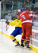 Anton Lander (Sweden - 16), Adam Polasek (Czech Republic - 3) - Sweden defeated the Czech Republic 4-2 at the Urban Plains Center in Fargo, North Dakota, on Saturday, April 18, 2009, in their final match of the 2009 World Under 18 Championship.