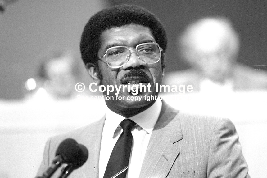 Bill Morris, deputy general secretary, TGWU, speaking at 1986 TUC conference. 19860907BM2<br /> <br /> Copyright Image from Victor Patterson, 54 Dorchester Park, <br /> Belfast, UK, BT9 6RJ<br /> <br /> t1: +44 28 9066 1296 (from Rep of Ireland 048 9066 1296)<br /> t2: +44 28 9002 2446 (from Rep of Ireland 048 9002 2446)<br /> m: +44 7802 353836<br /> <br /> e: victorpatterson@me.com<br /> www.victorpatterson.com<br /> <br /> Please see my Terms and Conditions of Use at www.victorpatterson.com. It is IMPORTANT that you familiarise yourself with them.<br /> <br /> Images used on the Internet must be visibly watermarked i.e. &copy; Victor Patterson<br /> within the body of the image and copyright metadata must not be deleted. Images <br /> used on the Internet have a size restriction of 4kbs and will be chargeable at current<br />  NUJ rates unless agreed otherwise.<br /> <br /> This image is only available for the use of the download recipient i.e. television station, newspaper, magazine, book publisher, etc, and must not be passed on to any third <br /> party. It is also downloaded on condition that each and every usage is notified within 7 days to victorpatterson@me.com<br /> <br /> The right of Victor Patterson to be identified as the author is asserted in accordance with The Copyright Designs And Patents Act (1988). All moral rights are asserted