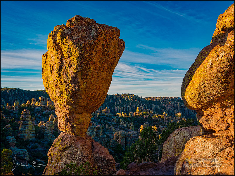 Sunrise above Echo Canyon ©2017 James D Peterson.  I don't know if anyone has ever tried to count them, but Arizona's Chiricahua National Monument must have thousands of hoodoos.  This is only a small sample of them, and they can really glow at sunrise and sunset.  The balanced rock in the foreground is right alongside the Echo Canyon Trail.