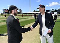 21st November 2019; Mt Maunganui, New Zealand;  New Zealand captain Kane Williamson and England Captain Joe Root. international test match cricket, Day 1, New Zealand versus England at Bay Oval, Mt Maunganui, New Zealand.