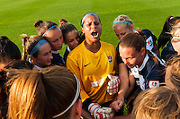 Sky Blue FC goalkeeper Brittany Cameron (1) leads the team in  a pre-game chant. Sky Blue FC and the Portland Thorns played to a 0-0 tie during a National Women's Soccer League (NWSL) match at Yurcak Field in Piscataway, NJ, on June 22, 2013.