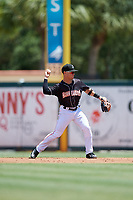 Jupiter Hammerheads second baseman Luis Pintor (3) throws to first base during a game against the Palm Beach Cardinals on August 5, 2018 at Roger Dean Chevrolet Stadium in Jupiter, Florida.  Jupiter defeated Palm Beach 3-0.  (Mike Janes/Four Seam Images)