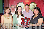 Elaine Egan, Tom Kenny, Mirium Leane, Eamon Egan and Brid Kenny Castleisland who was honoured at the Kerry Community Games annual awards ceremony in the River Island Hotel Castleisland on Friday night