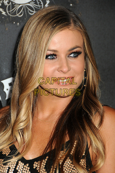 """CARMEN ELECTRA.""""Guitar Hero: Warriors of Rock"""" Launch Party held at Paramount Studios, Hollywood, California, USA..September 27th, 2010.headshot portrait black gold studs studded mascara eyeliner make-up beauty  .CAP/ADM/BP.©Byron Purvis/AdMedia/Capital Pictures."""