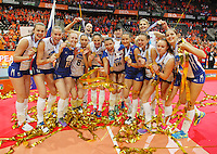 Russia's Women's players celebrates with Gold medal  during the Women's EuroVolley 2015 final volleyball match between  Netherlands vs Russia at Ahoy Arena in Rotterdam on October 4, 2015. (Photo by Paulo Amorim)