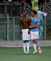 Calcio, Serie A: Lazio vs Frosinone. Roma, stadio Olimpico, 4 ottobre 2015.<br /> Lazio's Keita Diao, left, celebrates with teammate Danilo Cataldi after scoring during the Italian Serie A football match between Lazio and Frosinone at Rome's Olympic stadium, 4 October 2015.<br /> UPDATE IMAGES PRESS/Isabella Bonotto