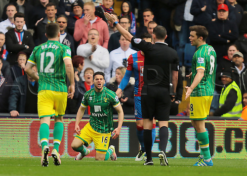 09.04.2016. Selhurst Park, London, England. Barclays Premier League. Crystal Palace versus Norwich. Norwich City Midfielder Matthew Jarvis shouts at Referee Michael Oliver after a decision goes against him