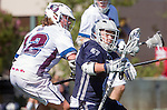 Los Angeles, CA 03/12/16 - JJackson Myers (Loyola Marymount #12) and Taylor Brundage (Utah State #47) in action during the Utah State vs Loyola Marymount MCLA Men's Division I game at Leavey Field at LMU.  Utah State defeated LMU 17-4.